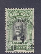 Liberia 1920, 5c on 10c Harper, left quad is UPRIGHT, used, scarce thus #180