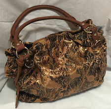 New Treska shoulder bag purse organizer Handbag brown velvet fabric great gift