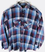 FIVE BROTHER Long Sleeve Flannel Shirt Men's 3XL XXXL Red Blue Plaid Checks