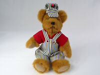 "Bearcraft Originals Railroad Bear Artist Joyce Ann Haughey Nashville, IN 13"" EUC"