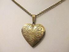 "UK Jewellery Bronze Style Heart Photo Locket + 18"" Curb Necklace Pendant Chain"