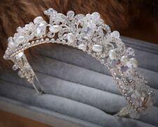 Perlas de Cristal Corona Pedrería Boda Diadema Cristal Novia Accessorios 1 Pieza