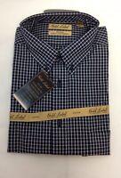 Roundtree & Yorke Gold Label Men XL Blue  Plaid Button Down Long Sleeve
