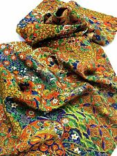 """JAPANESE KIMONO FABRIC 42""""_Silk,Green,Blue,Flower,Butterfly,#e542-a"""