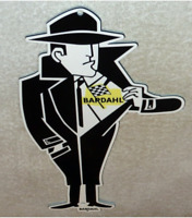 "VINTAGE BARDAHL MOTOR OIL ADDITIVE BURGLAR THIEF 12"" METAL GASOLINE SIGN! RACING"