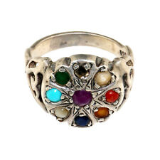 (1856) Antique silver and precious stones ring. Powerful amulet from India