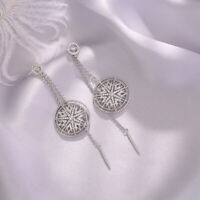 Earrings Nails Long Linear Chandelier Star Cz Gold Plated White G9 D