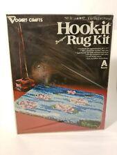 Vogart latch hook rug kit 20 x 27 Vintage Craft Blue Pond w/ Flower Sealed New