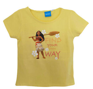 Disney Moana Vaiana Girls T-Shirt, Yellow Character Print Cotton Summer Kids Top