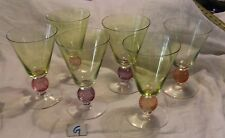 6 Beautiful ROMANIA MADE Tinted Multi-Colored Large Sherbet/Cocktail Glasses...