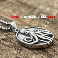 MENDEL Mens Stainless Steel Knights Templar Nautical Octopus Pendant Necklace