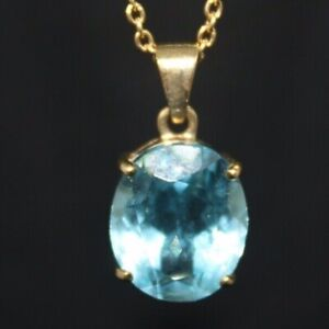100% Genuine 9K Solid Yellow Gold Huge 5.05cts Oval Cut Natural Topaz Pendant