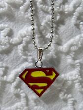 """New Unisex Super-Man Charm Pendant On Silvertone 24"""" Beaded Chain Necklace N 403"""