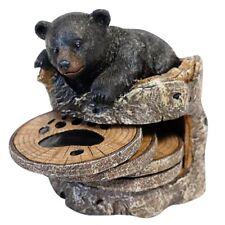 Black Bear On Tree Trunk Coaster - 5 Piece Set - Four Coasters Plus Holder