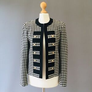 Mansfield Houndstooth Vtg Jacket Wool 10 8 Mono Military Style Gold Button Z12