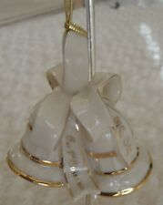 Lenox 2002 Our First Christmas Ornament Ivory & Gold Wedding Bells
