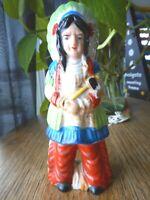 "Made in Japan Antique Figurine ap 6"" headdress Chief Vintage Worn Loved Kitschy"
