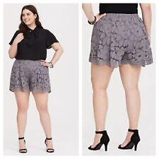 Torrid Grey Floral Lace Shorts Elastic Waistband Sz 2 18 20 2x #04917