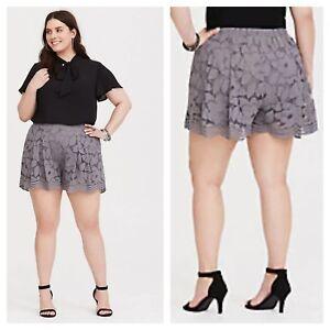 Torrid Grey Floral Lace Shorts Elastic WaistbandSz: 1 14 16 1X #04916