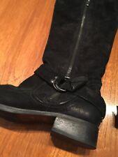 'DUNNE' PRELOVED BLACK SUEDE JUST OVER THE KNEE ZIP / BUCKLE LOW HEEL BOOTS