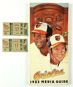 Orioles 1983 Media Guide Vintage Magazine Frank & Brooks Robinson + Ticket Stubs