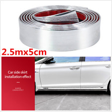 2.5mx5cm Silver Rubber Body Car Side Door Bumper Pedal Edge Protector Strips
