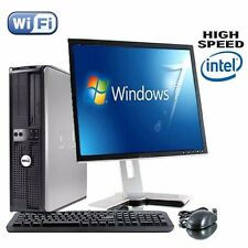 DELL DUAL CORE DESKTOP TOWER PC TFT COMPUTER SET WITH WINDOWS 7 WiFI UK SELLER