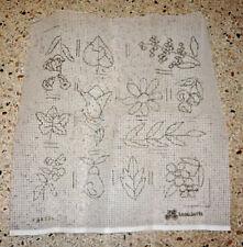 Vintage RETRO MOTIFS  FLOWERS & LEAVES  Needlepoint Canvas Large 6 MESH Penelope