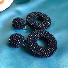 Oscar de la Renta style Crystal Pave Clip-on Hoop Earrings