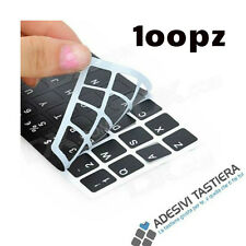 100 pezzi Adesivi lettere tastiera Italiano fondo nero lettere bianche notebook