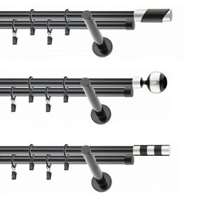 Gardinenstange Vorhangstange Schwarz 2 läufig  19mm