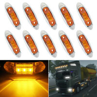 10Pcs Amber 12V 3 Led Side Marker Tail Lamp Indicators Lights Truck Trailer Bus