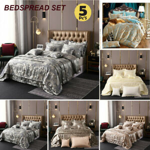 Luxury Bedspread 5 Pieces Satin Jacquard Quilted Throw Bedspread Comforter Set