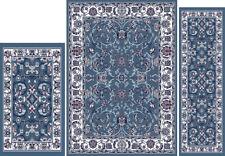 Traditional Blue Ivory Oriental 3 Pcs Vine Persian Leaf Area Rug Runner Mat Set