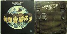 Rare Earth LP Vinyl Record Album Lot: One World + In Concert