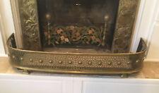 Antique Victorian Brass & Tin Fireplace Fender 1800s 9 1/2� x 50� x 15�