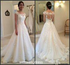 2017 neu Weiß/Elfenbei A-linie lace Brautkleid Brautjungfer Kleid Größe 34--46W