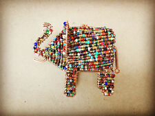 Elephant Hanging Decoration / Ornament Handmade Recycled Wire & Glass Beads