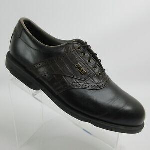 FootJoy DryJoys Black Leather Saddle Golf Shoes Soft Spikes 53494 Mens Size 11