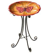 Butterfly Metal Birdbath & Stand New orange red feeder garden art centerpiece