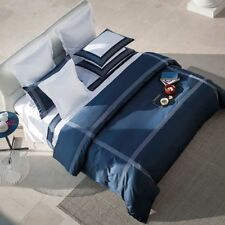 FRETTE HOTEL PORTO EURO EMBROIDERED SHAMS PILLOWSHAMS NAVY BLUE RETAIL$260+tax
