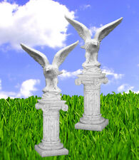 SET 1 x Adler + 1 x Sockel Rom Vogel Statue Skulptur Tierfiguren Stein BLACKFORM
