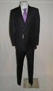 Giorgio Armani Black Label Executive Dark Blue Striped Two Button Suit 46L NWT