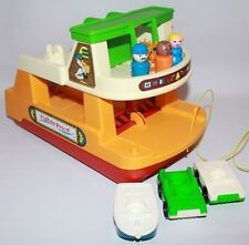 Vintage Fisher-Price Little People Play Family Ferry Boat 1979 orange man green