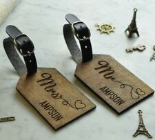 2pcs Personalised Wooden Luggage Tag Walnut Mr and Mrs Heart Wedding Gift