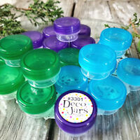12 Mini Jars green aqua purple 1/4 oz cap posh 1tsp 3301 Container DecoJars USA