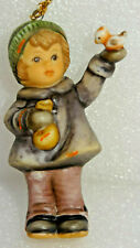 1999 Feeding Feather Friends Goebel Hummel Christmas Bisque Ornament Girl w/Bird