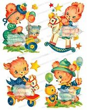 Vintage Image Shabby Nursery Bunny Bunnies Bear Animals Waterslide Decals An638