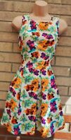 RAGE CREAM NEON ORANGE PINK GREEN FLORAL SLEEVELESS SKATER A LINE DRESS 14 L