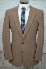Vintage Mens Brown Fine Check TWEED Wool Sport Coat Blazer Jacket SIZE 39L